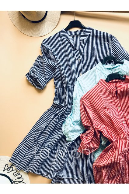 Košilové šaty s rozhalenkou a nařasenou sukní - jemný proužek