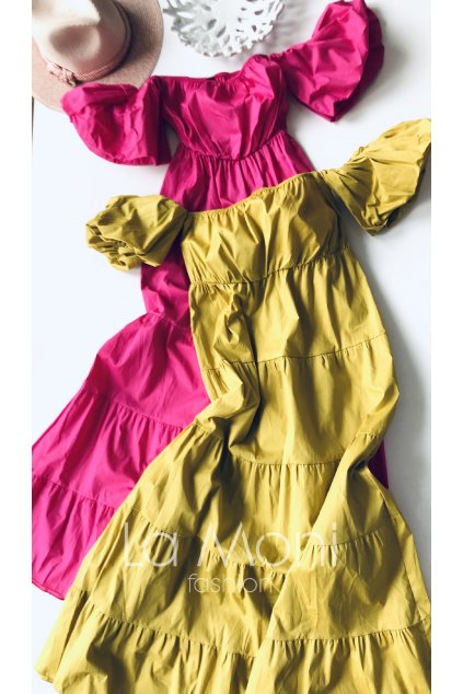 Dlouhé  luxusní šaty s balónovými rukávky