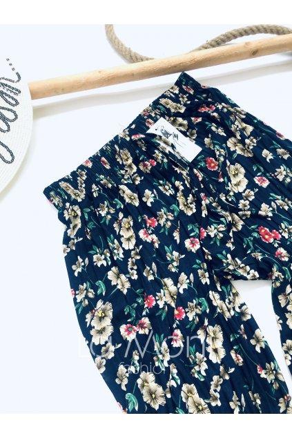 Plisované široké květované kalhoty