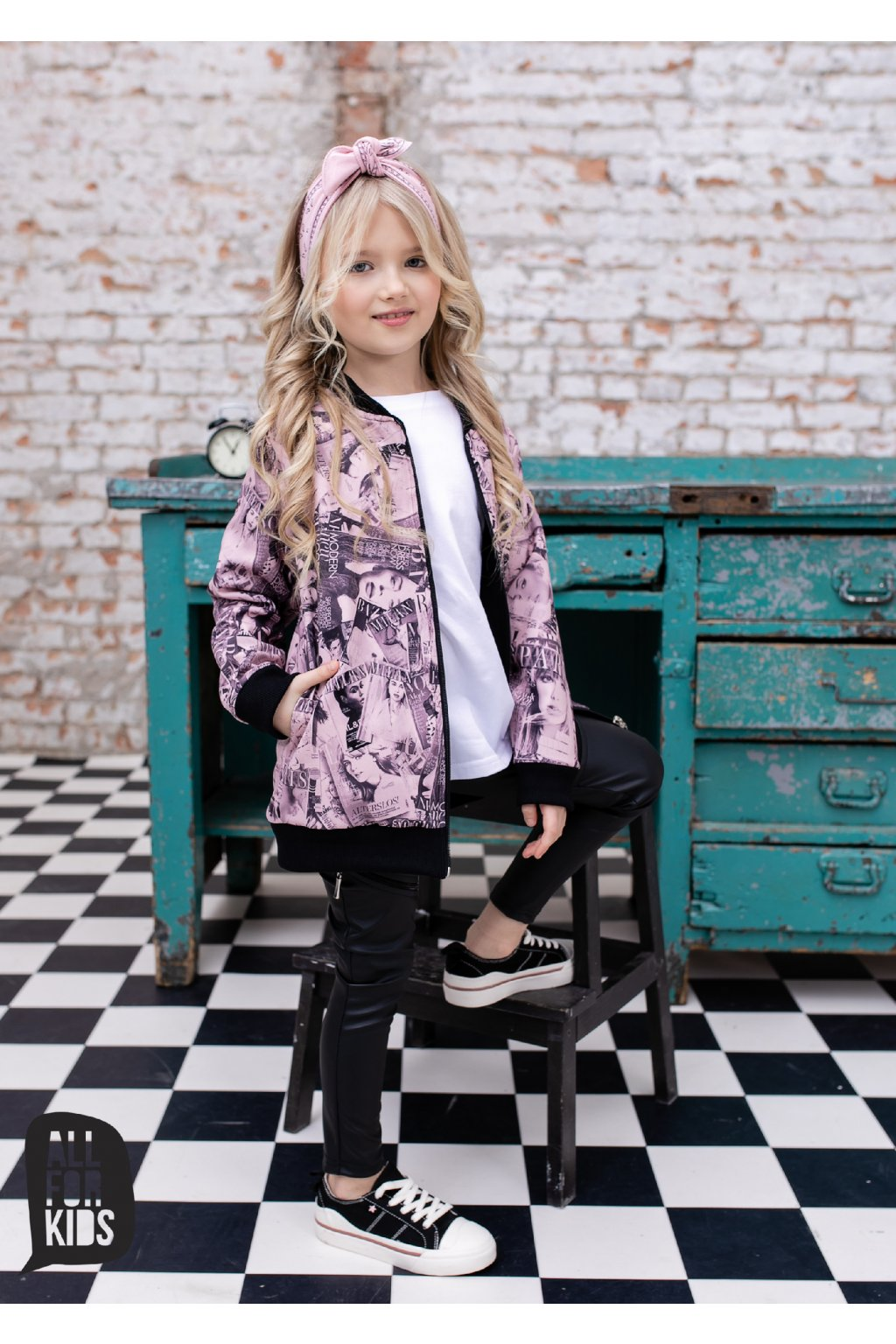 Dívčí mikina Fashion růžovo-černá