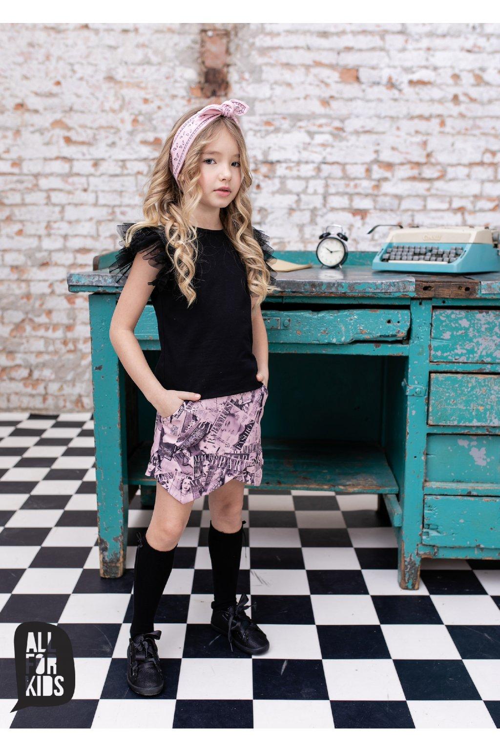 Dívčí sukně Fashion růžovo-černá
