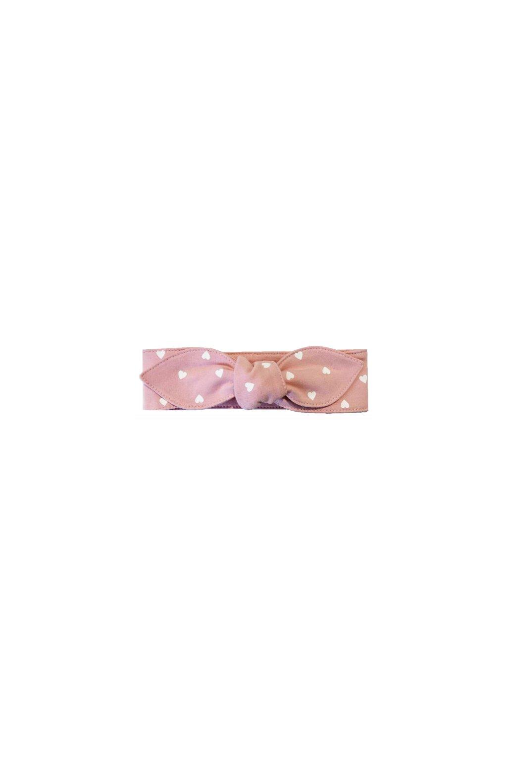 Dívčí čelenka se srdíčky růžová