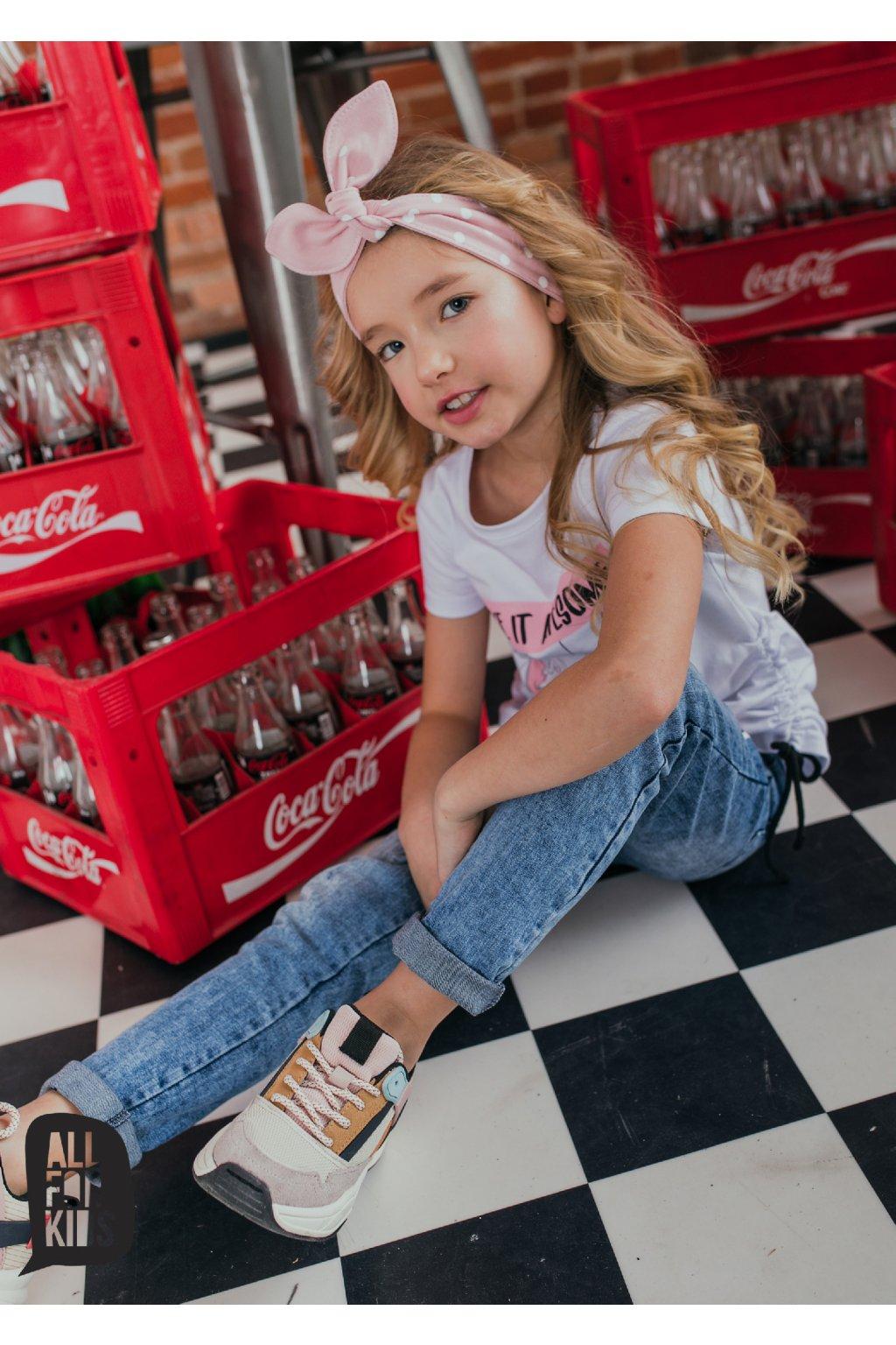 Dívčí čelenka s puntíky růžová