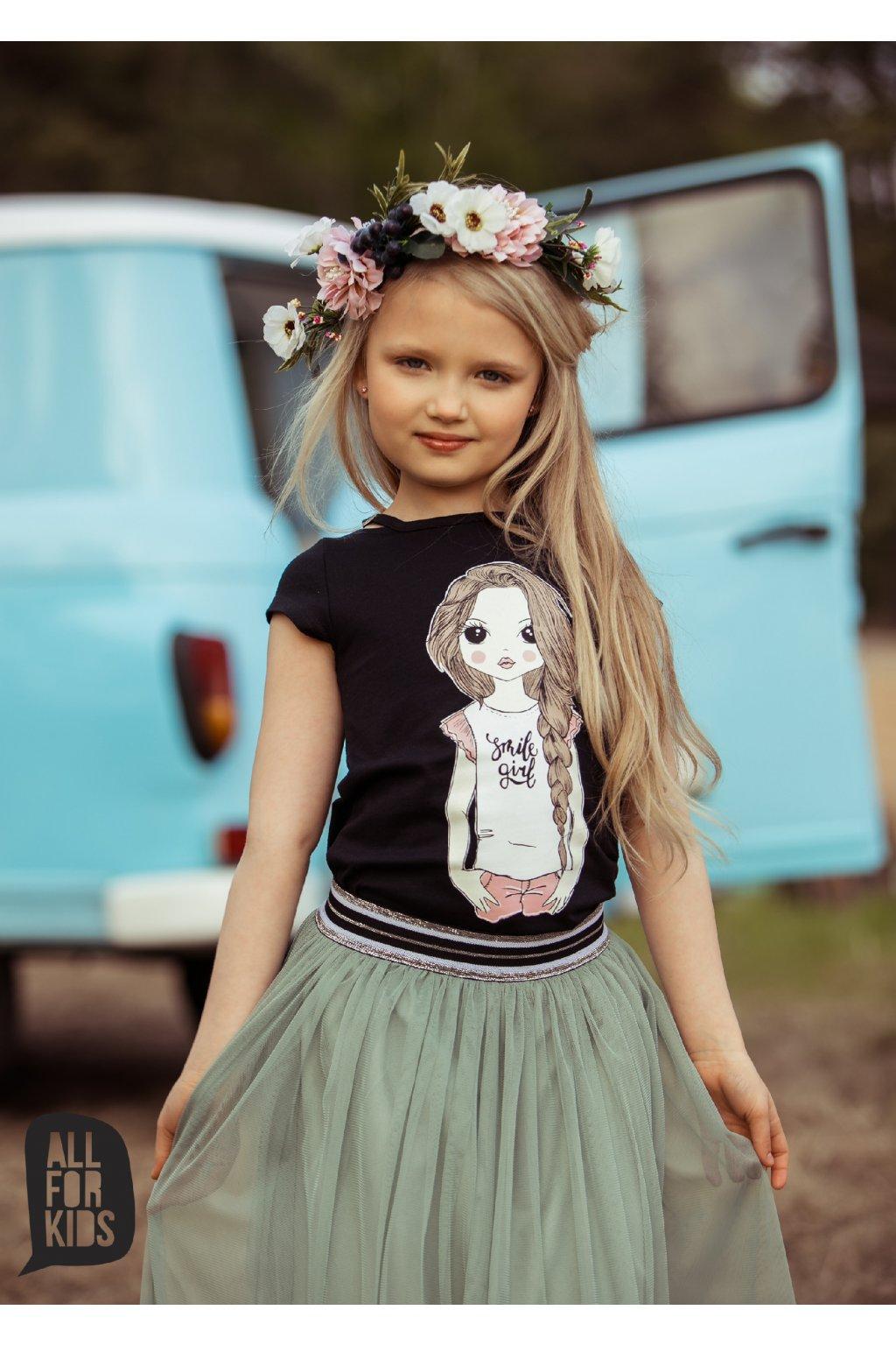Dívčí tričko Smile girl černé
