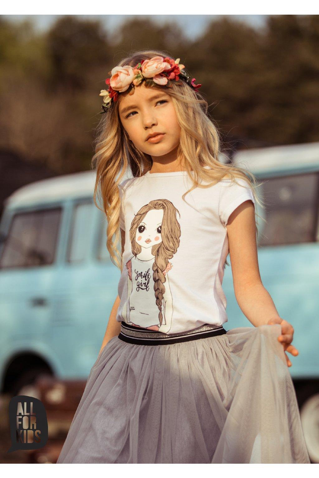 Dívčí tričko Smile girl bílé