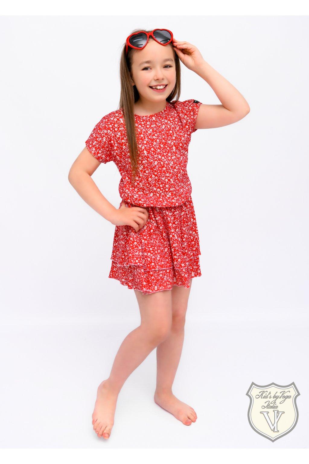 Dívčí šaty s květinovým vzorem červené