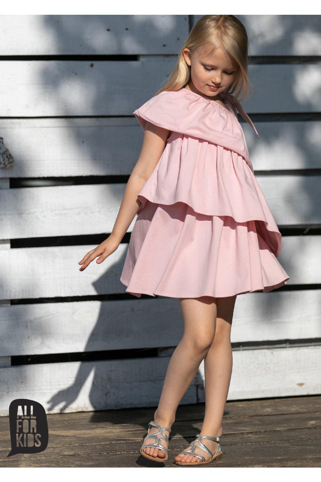 Dívčí šaty volánkové růžové