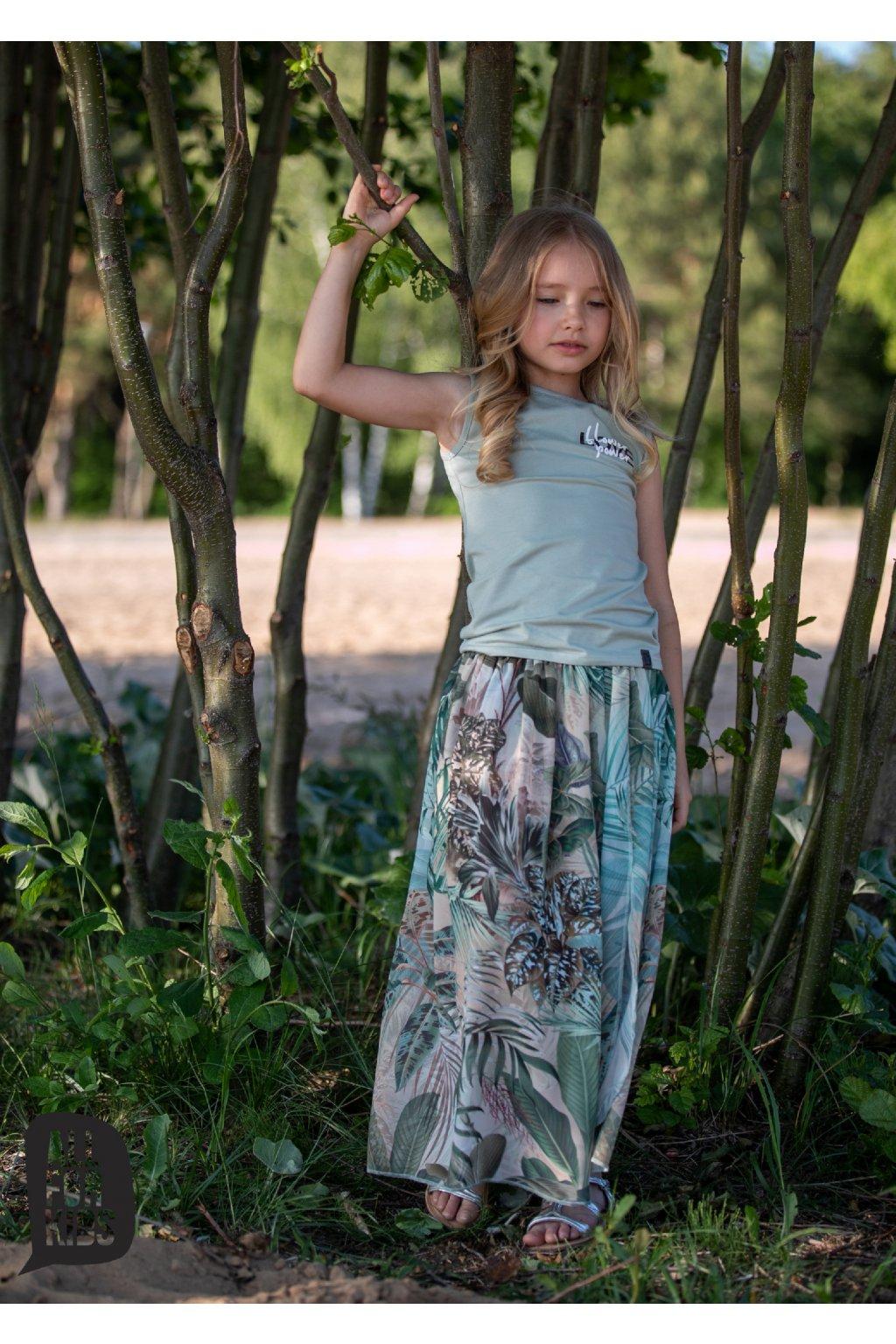 Dívčí sukně Flower s všitými kraťasy zelená