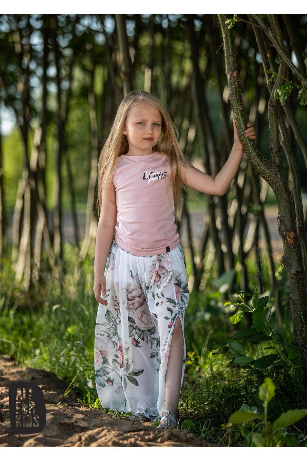 Dívčí sukně Flower bílá