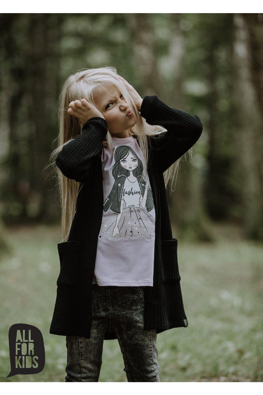 Dívčí svetr kardigan černý