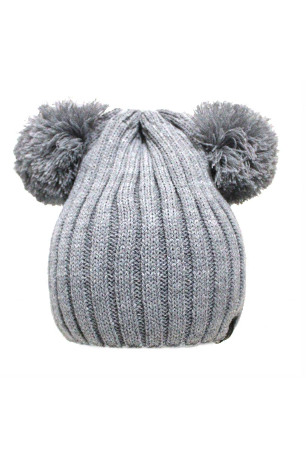 Dětská zimní čepice v šedé barvě