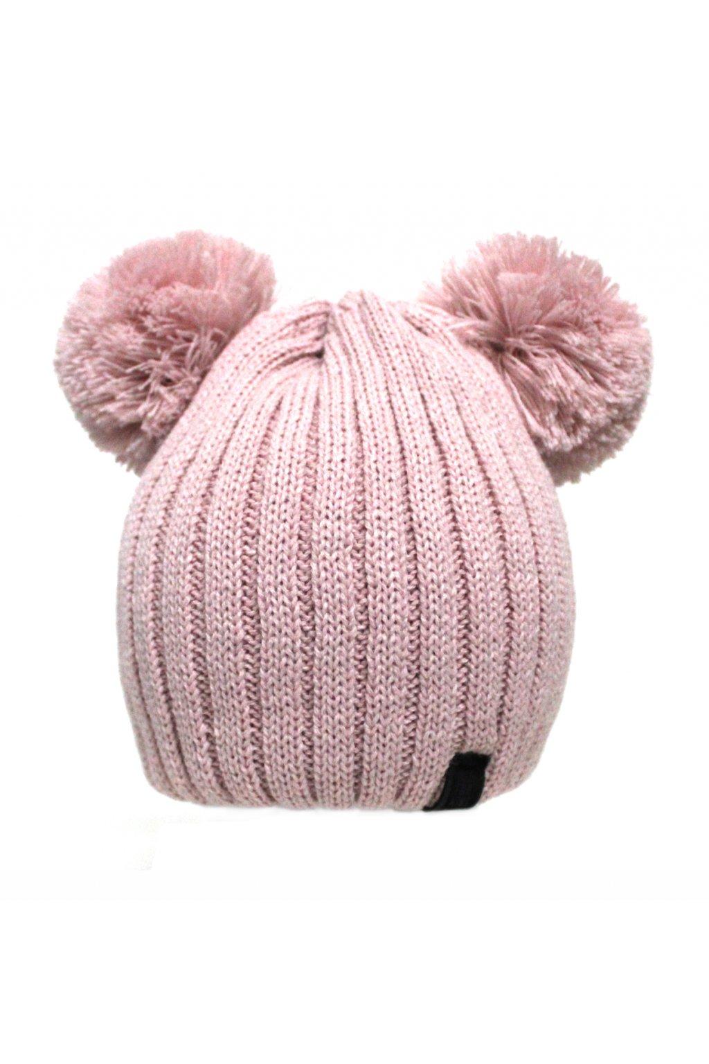 Dětská zimní čepice v růžové barvě