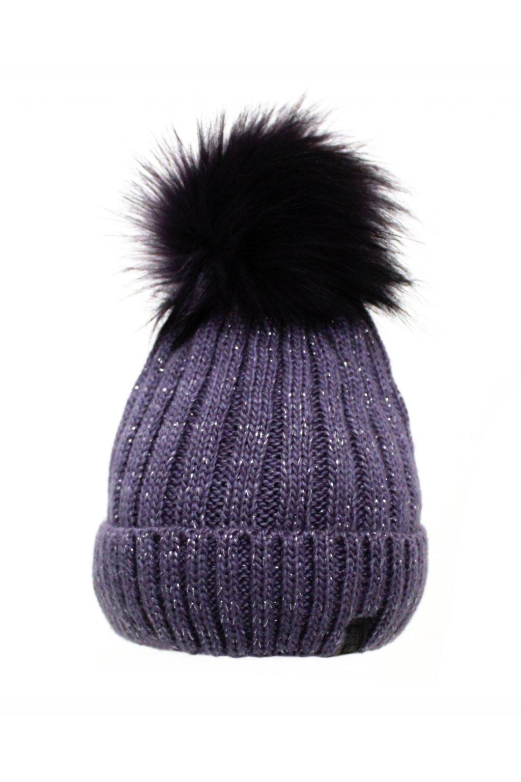 Dětská zimní čepice ve fialové barvě