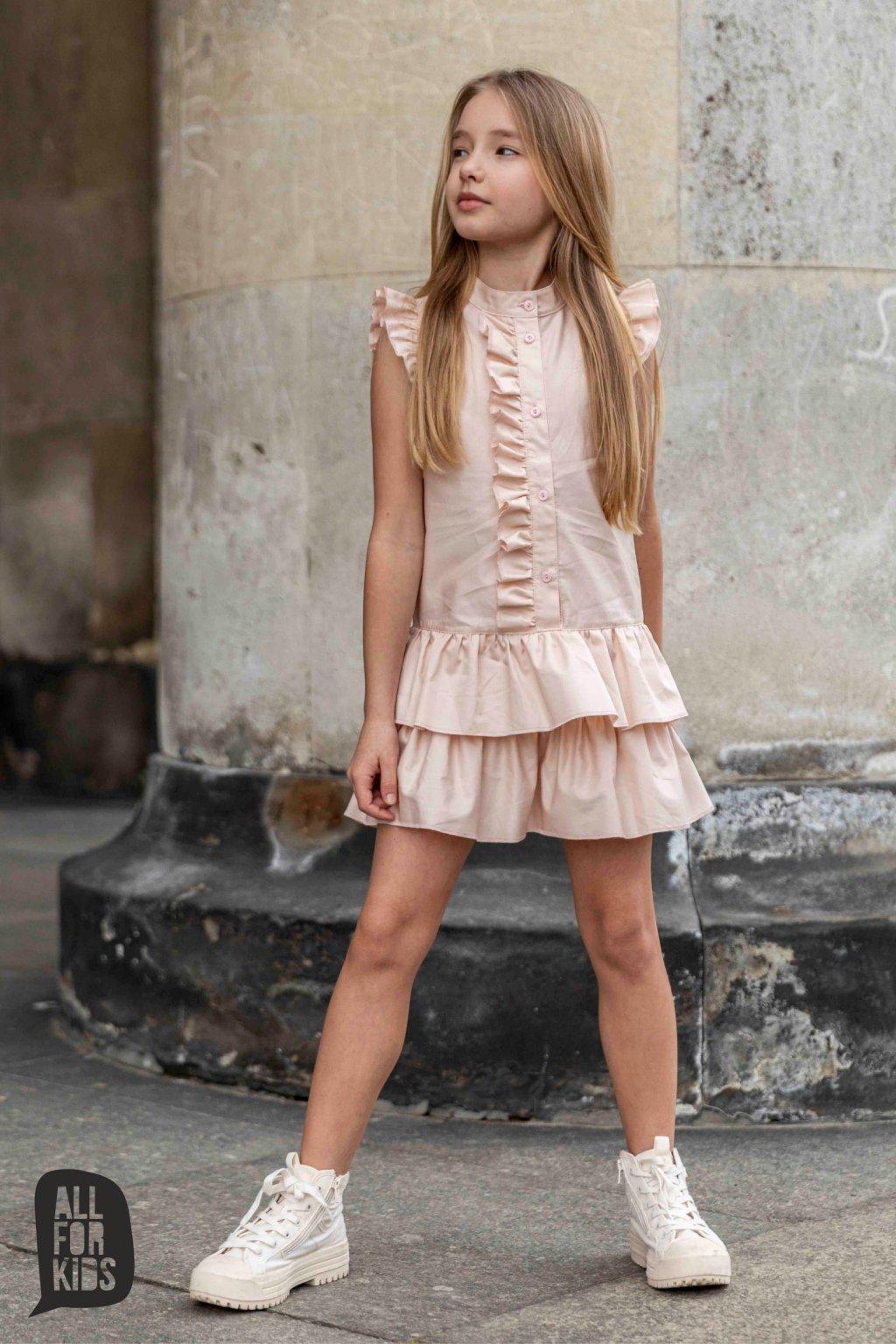 Dívčí šaty s volánky růžové