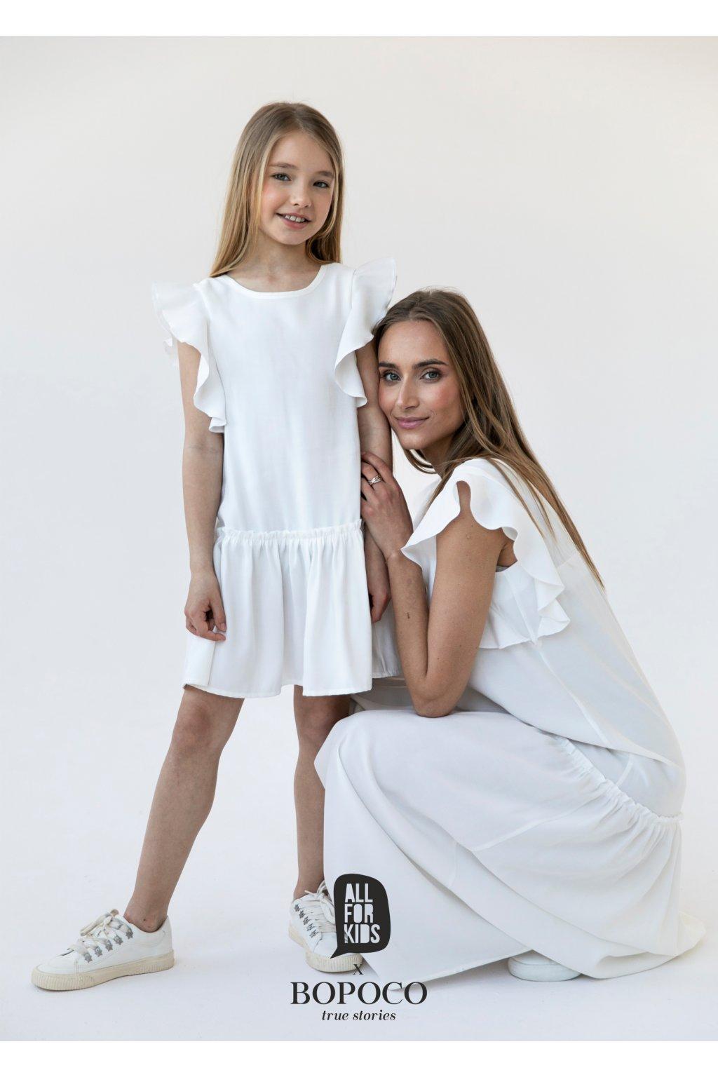 Dívčí šaty s volánky bílé