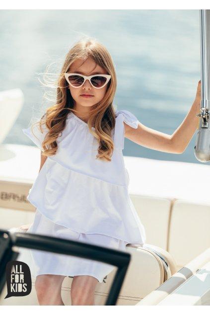 Dívčí šaty volánkové bílé