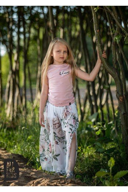 Dívčí tílko Flower Power růžové