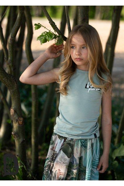 Dívčí tílko Flower Power zelené