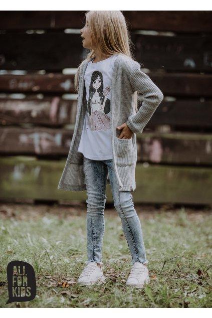 Dívčí svetr kardigan šedý