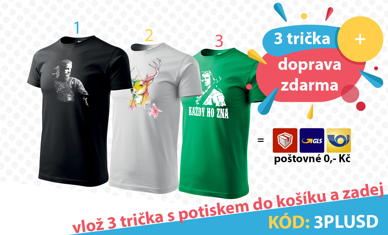 3 trička + doprava zdarma