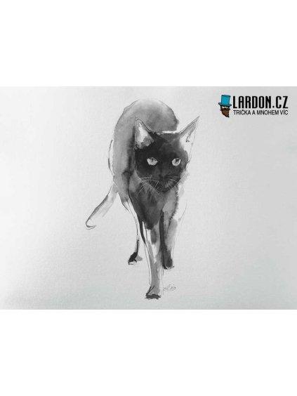 černá kočka motiv tričko náhled