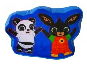 Tvarovaný polštář Zajíček Bing, Pando, plyšový modrý