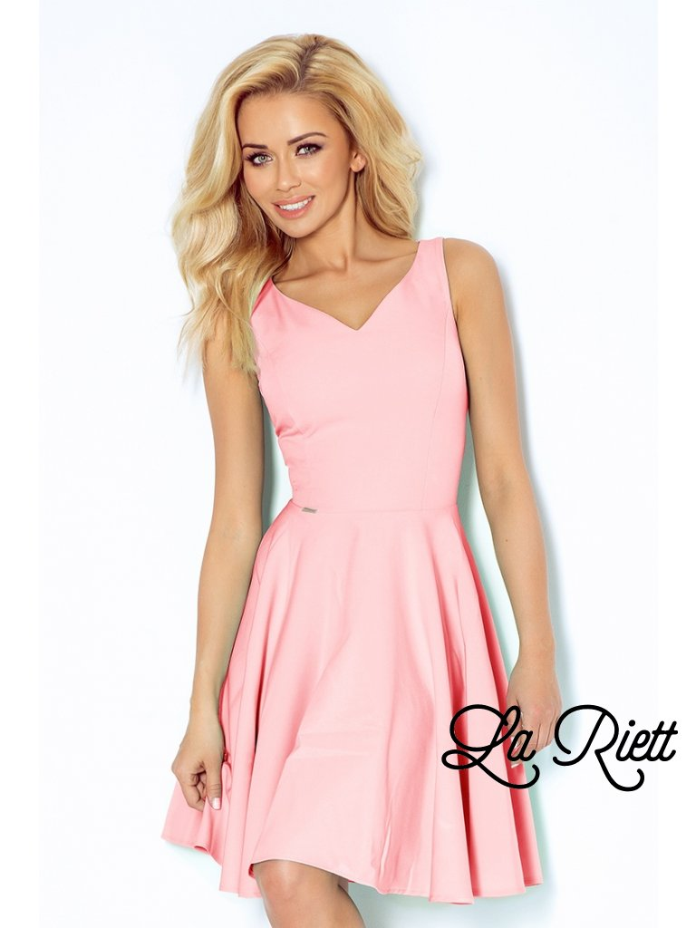 Dress circle - heart-shaped neckline - lihgt pink 114-5 (Veľkosť XL)