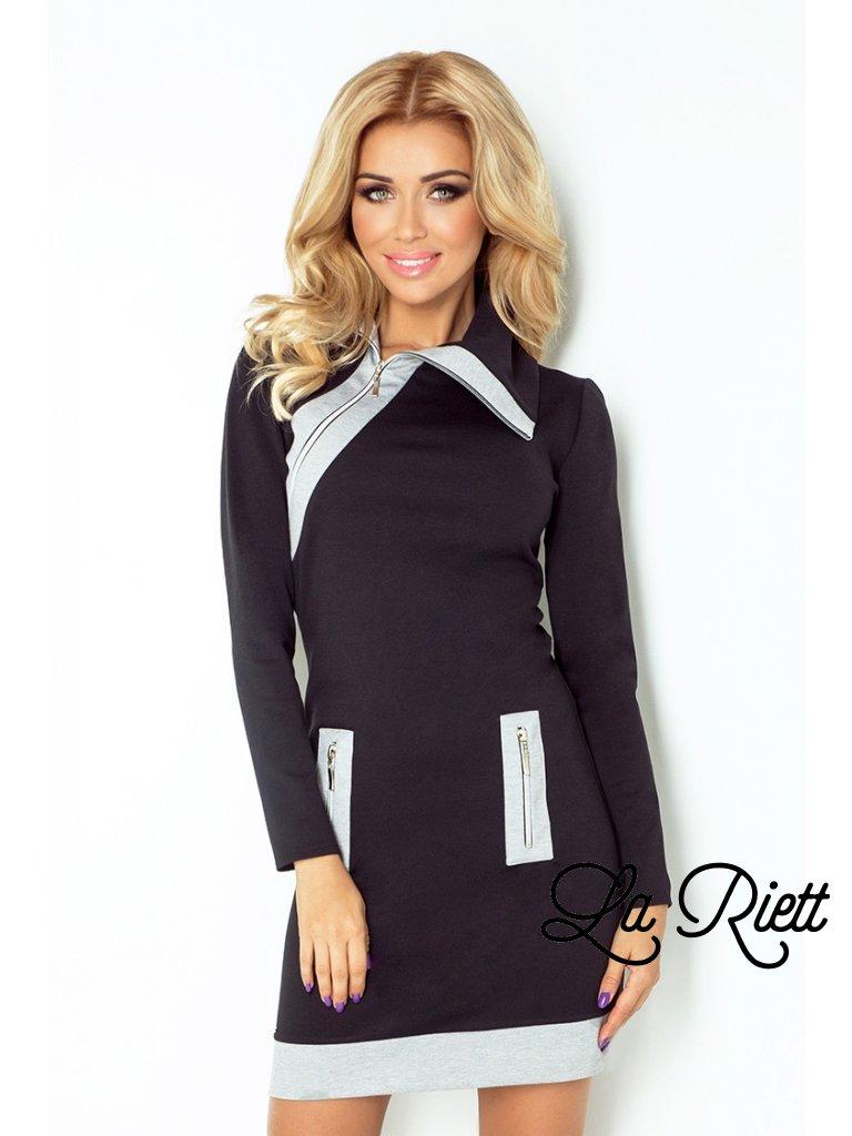 129-2 JUSTYNA dress with three zippers - black + gray zippers (Veľkosť XXL)