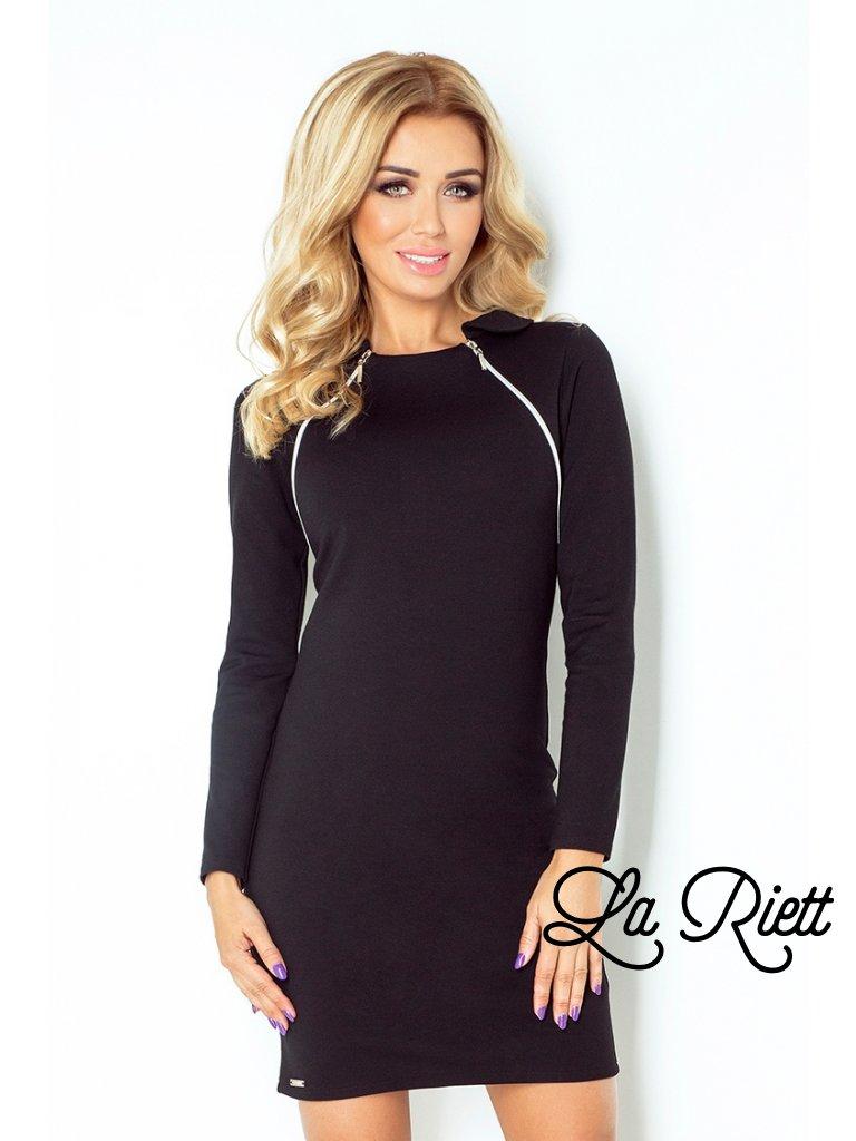 130-3 Dress with two zippers - black (Veľkosť XXL)