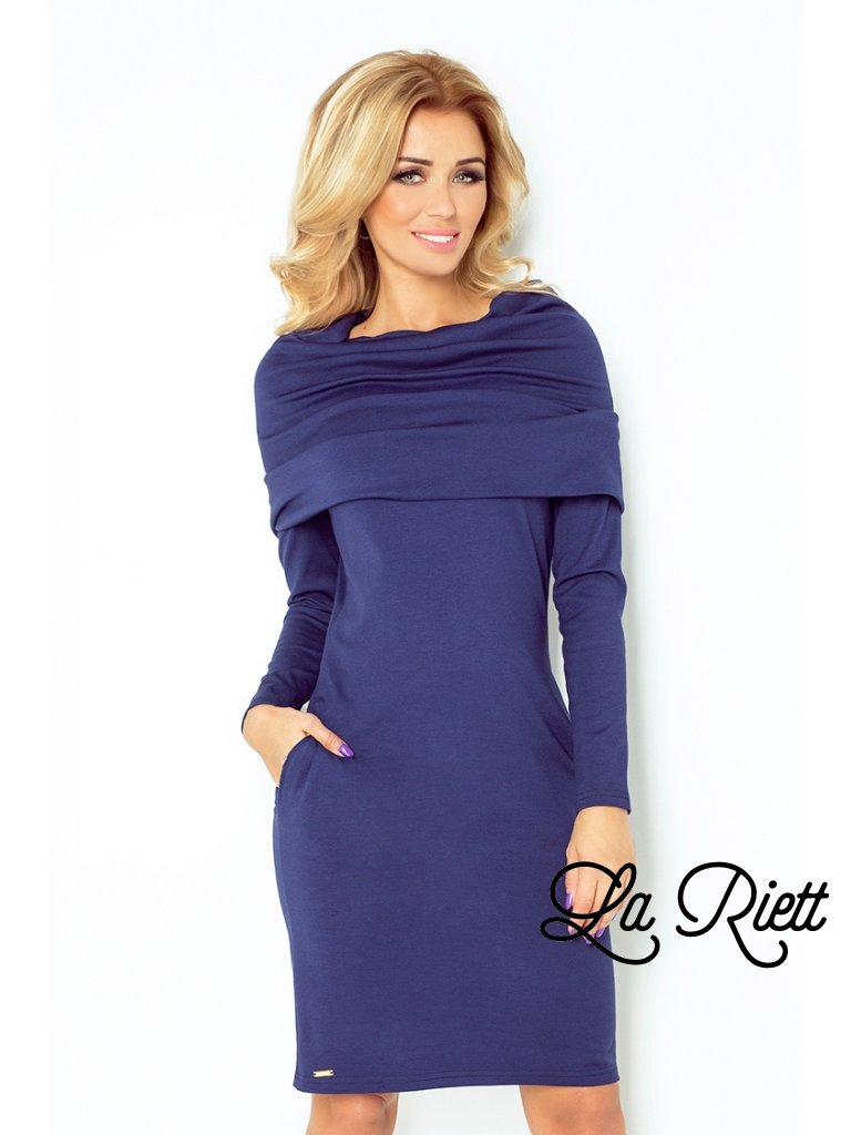 Dress with golf - navy Blue 131-5 (Veľkosť XS)