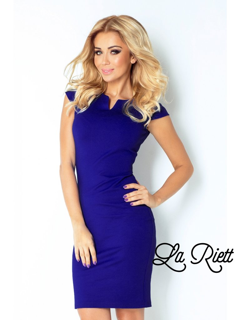 Dámske vypasované šaty modré 132-1
