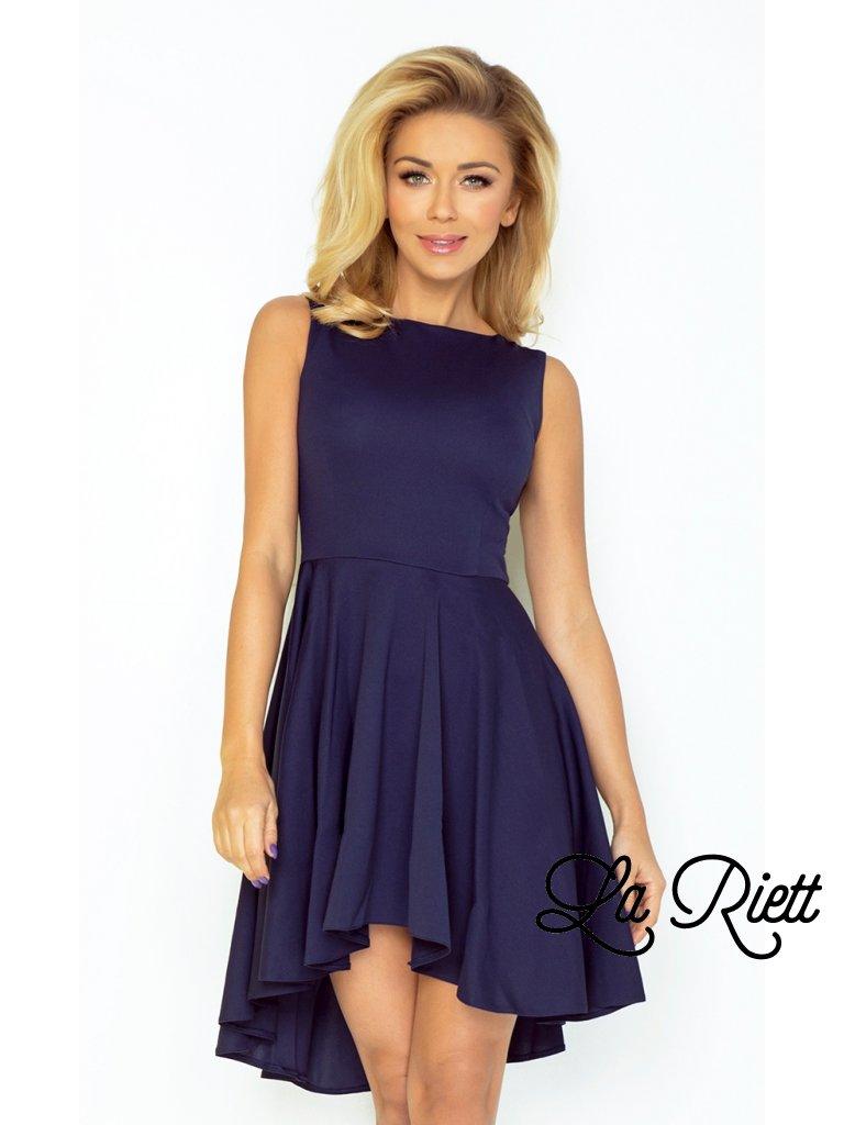 Exkluzívne asymetrické šaty tmavo modré 33-3
