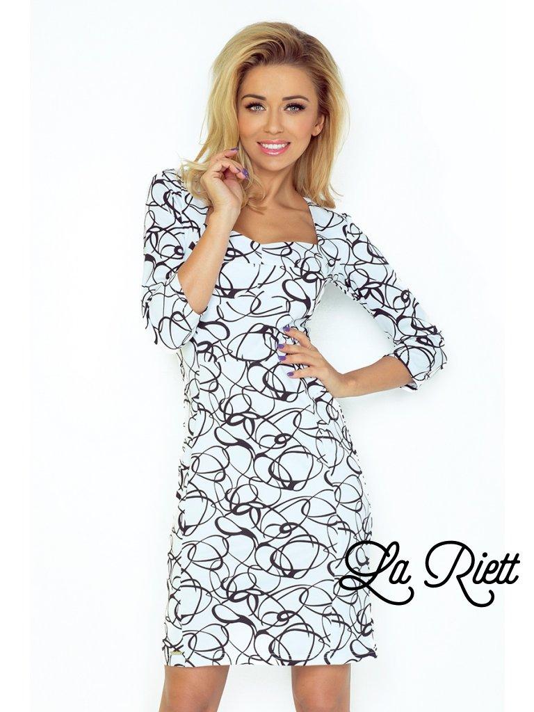 Elegantné šaty s výstrihom a 3/4 rukávom - biele 136-1