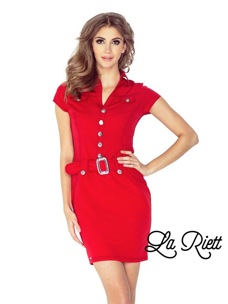 červené šaty s gombíkmi a opaskom 142-4