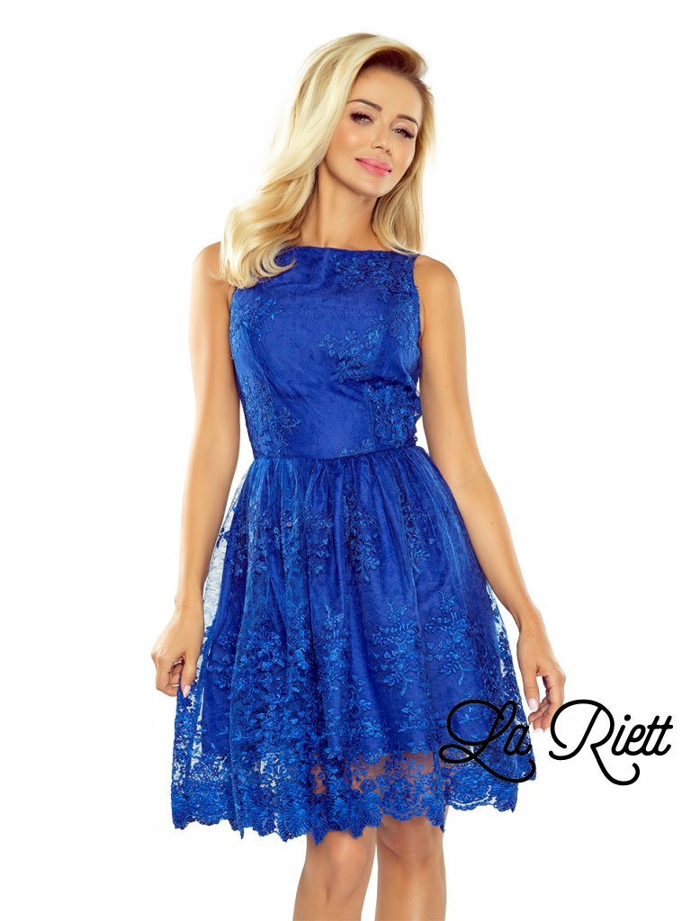 Dámske rozšírené šaty s vyšívaným materiálom v modrej farbe 173-1