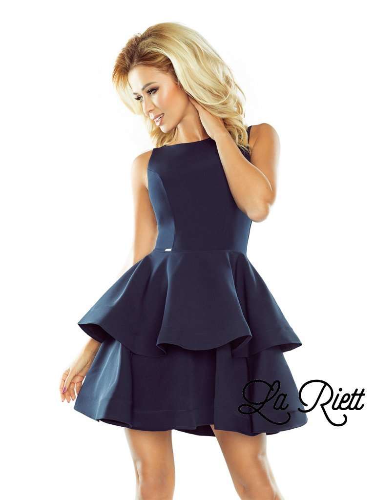 Elegantné šaty tmavomodré 169-2