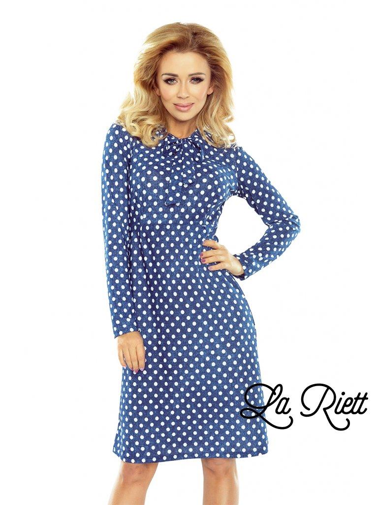 Dámske bodkove šaty modre 158-1
