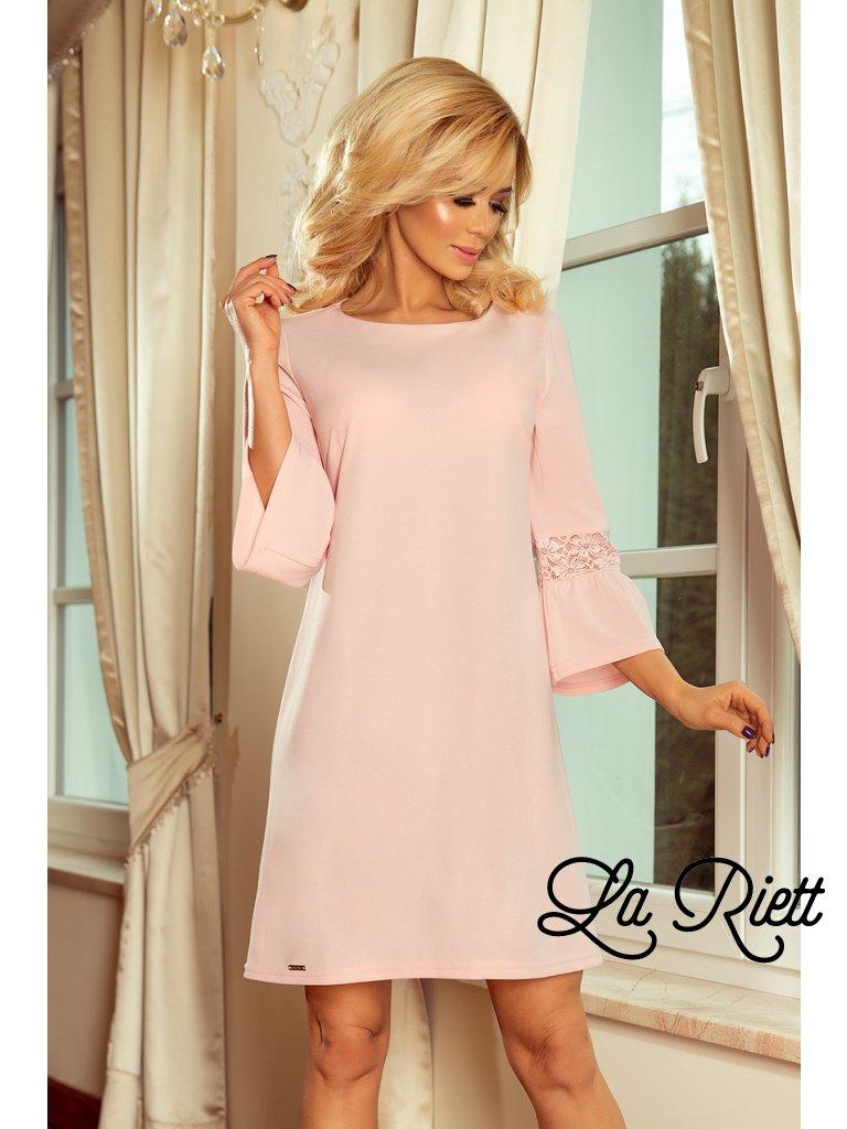 Šaty s krajkou na rukávoch pastelové ružové 190-1