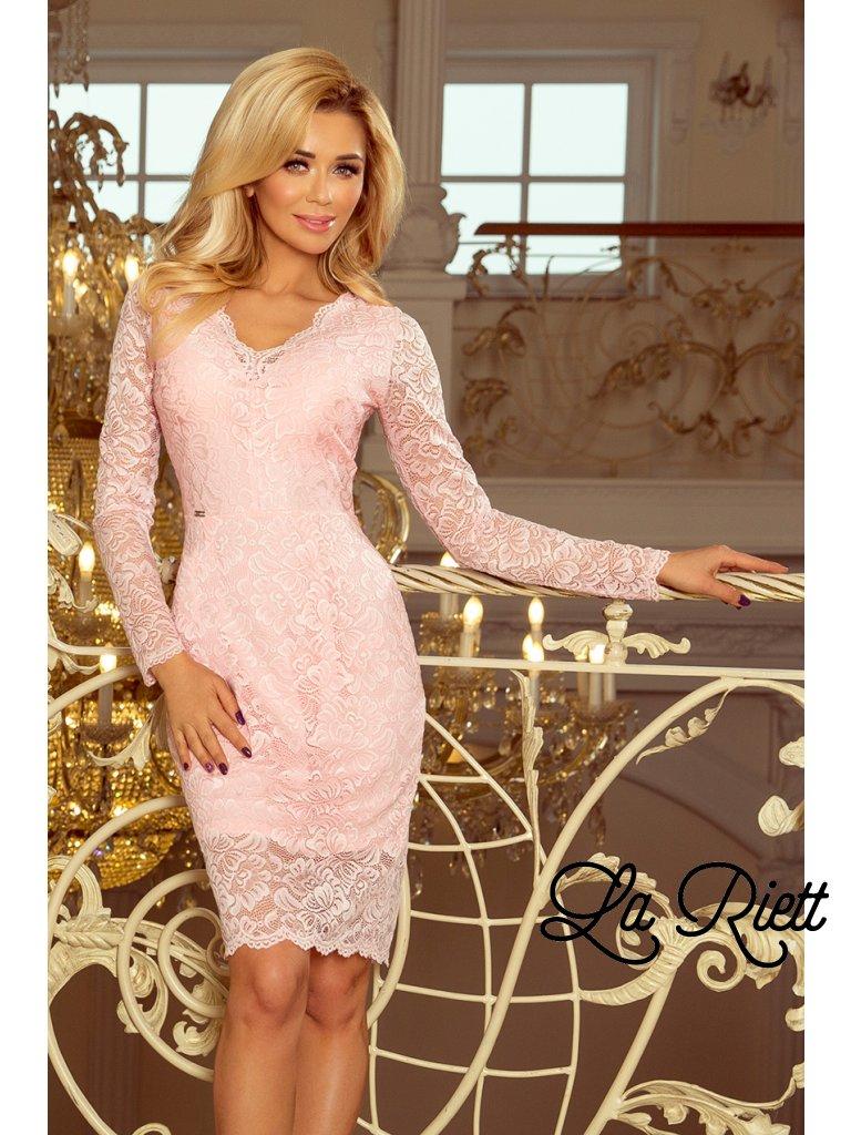 Pastelovo ružové  čipkované šaty 170-4
