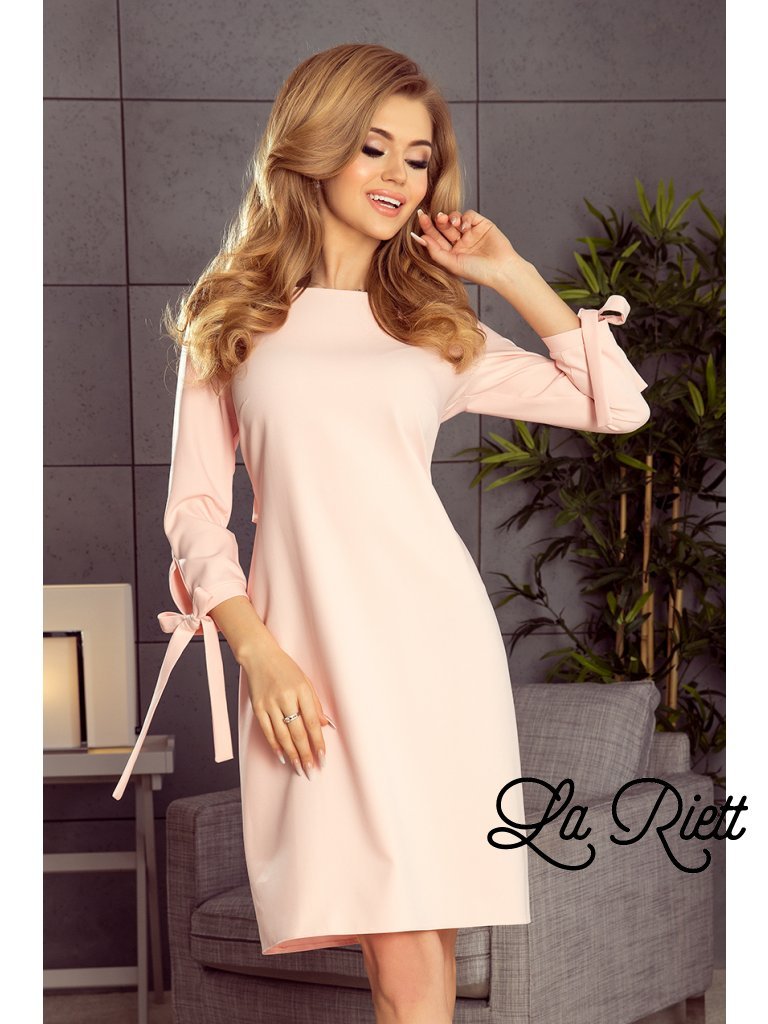 Šaty s viazanim  pastelovo ružové 195-2