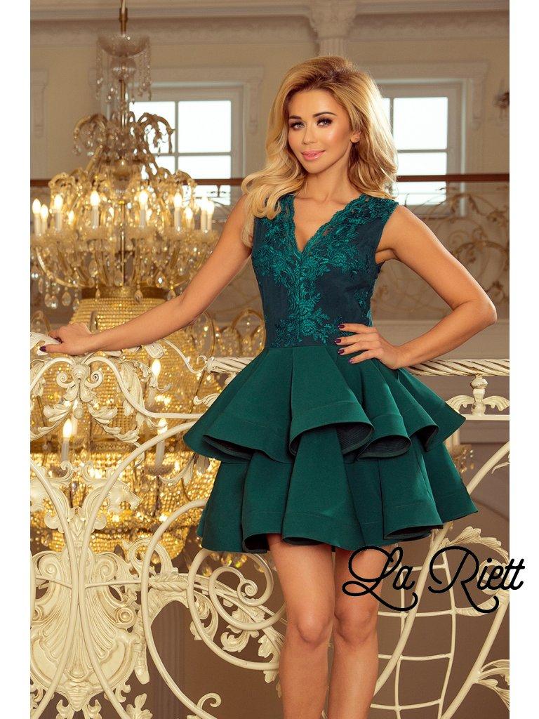 Exkluzívne šaty s A-čkovou suknou zelené 200-6