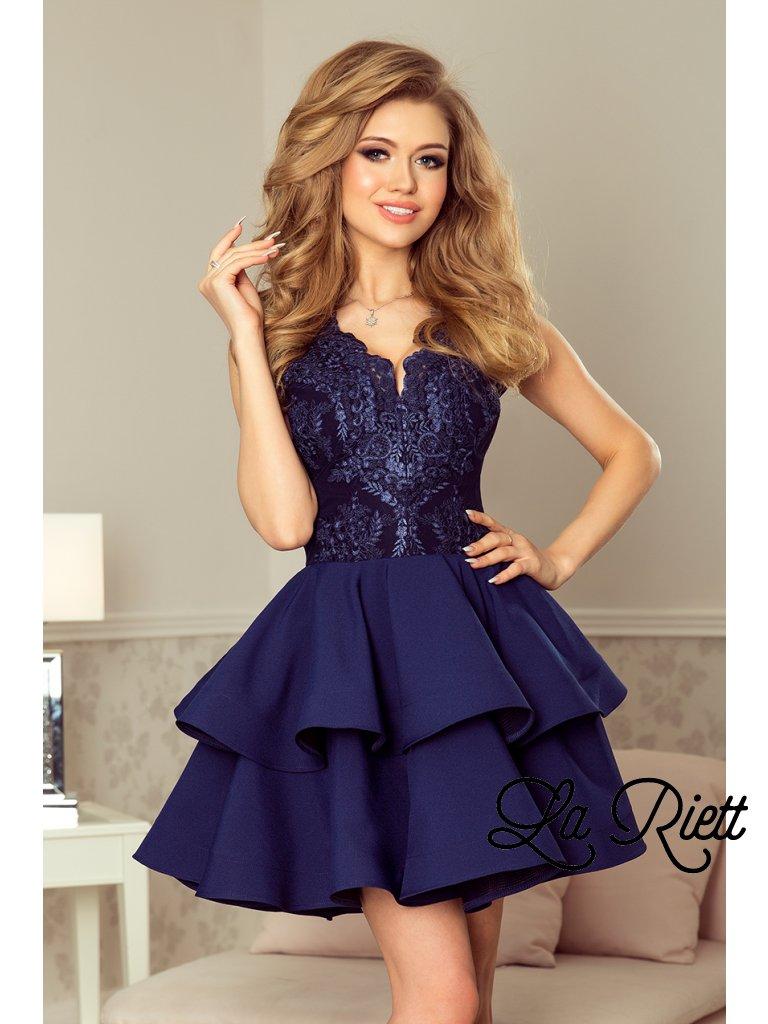 Exkluzívne šaty s A-čkovou suknou tmavomodré 200-2