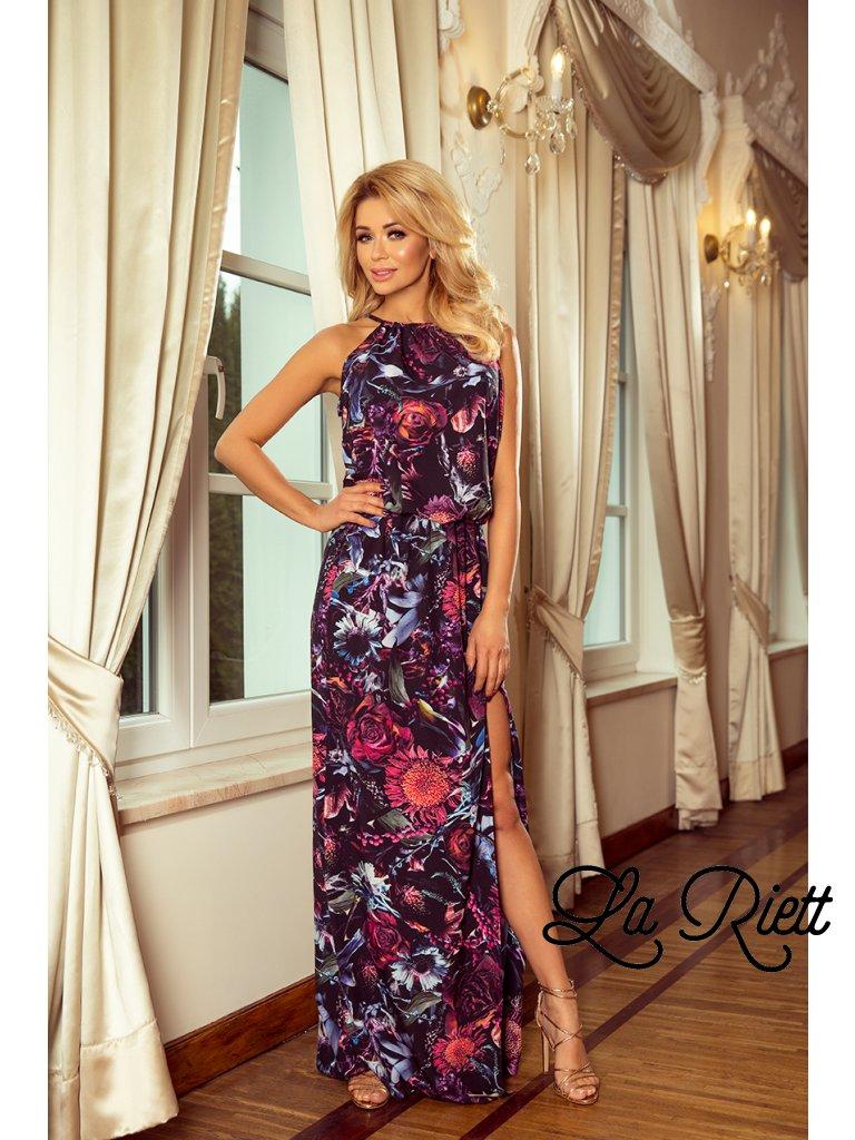 Kvetované šaty s viazaním na krku - fialová 191-1