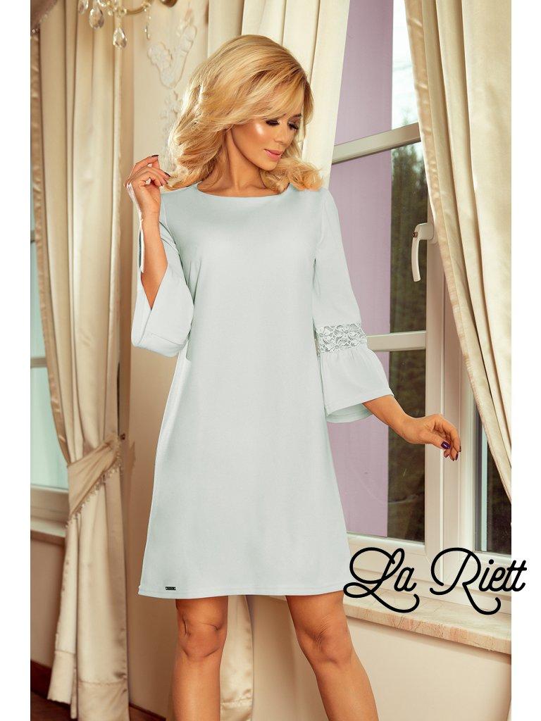 Šaty s krajkou na rukávoch bledomodré 190-5