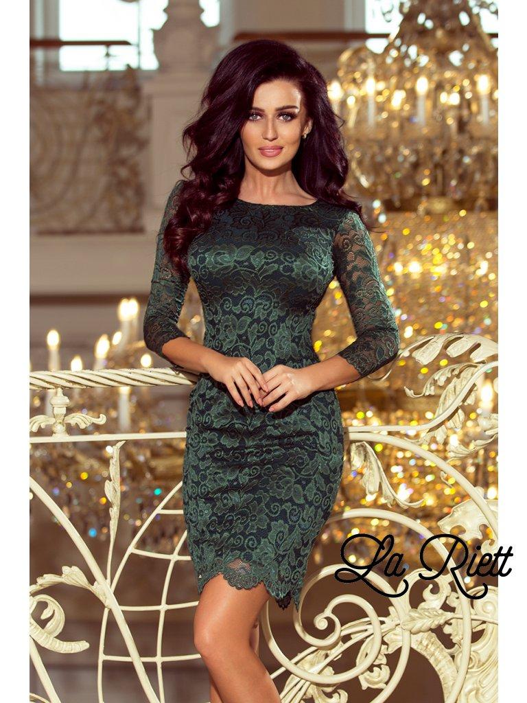 Dámske čipkované šaty tmavozelené 180-3