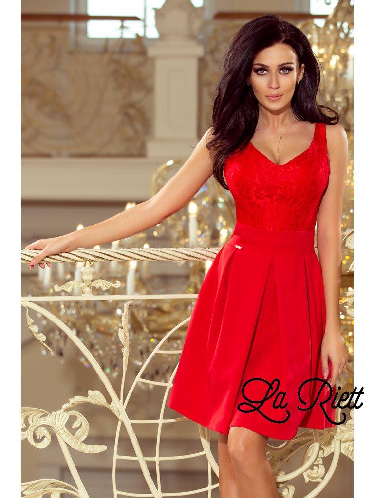 Elegantné šaty s V-čkovým vystrihom červené 208-2