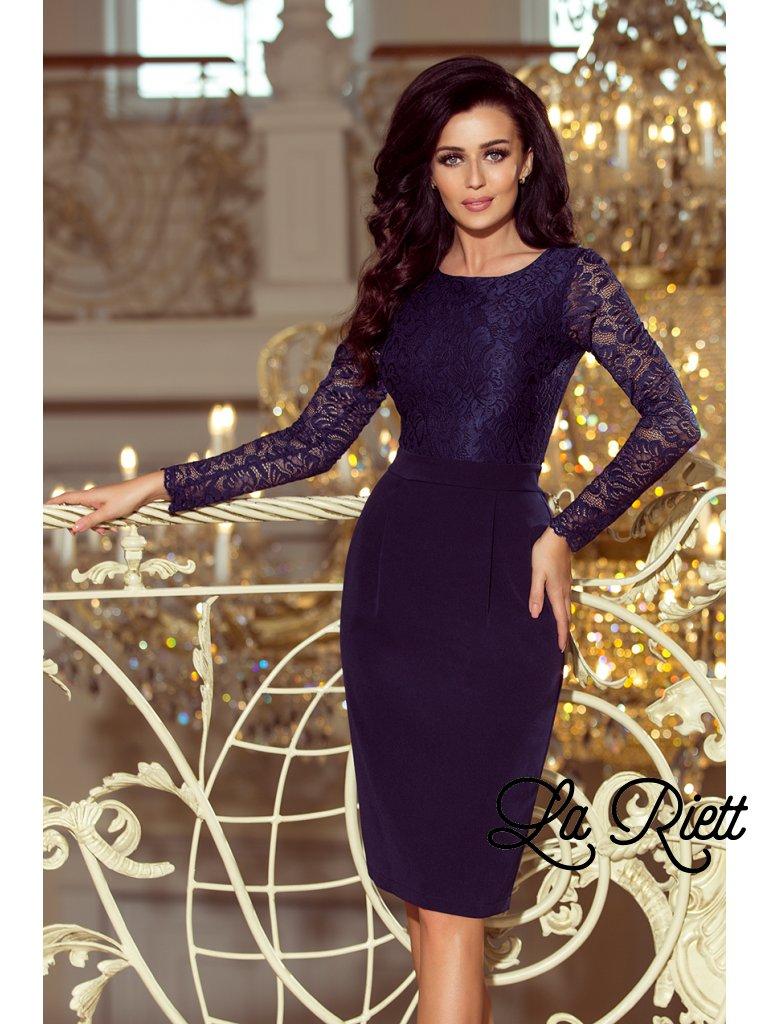 Dámske elegantné šaty s čipkou tmavomodré 216-1