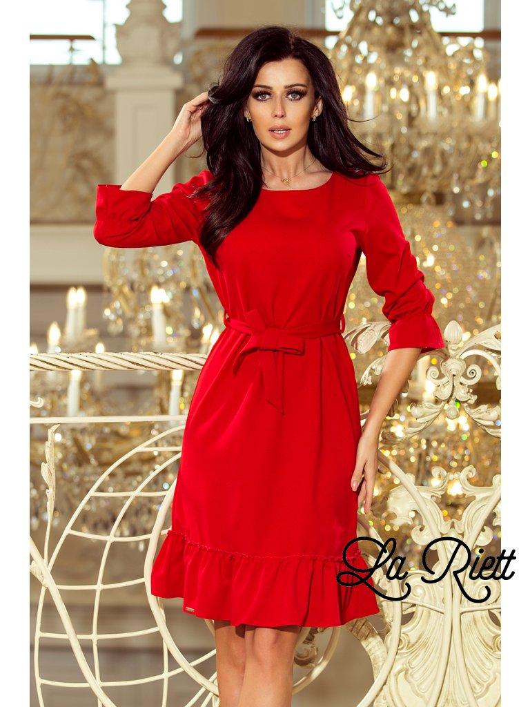 Dámske šaty s volánikmi červené 193-9