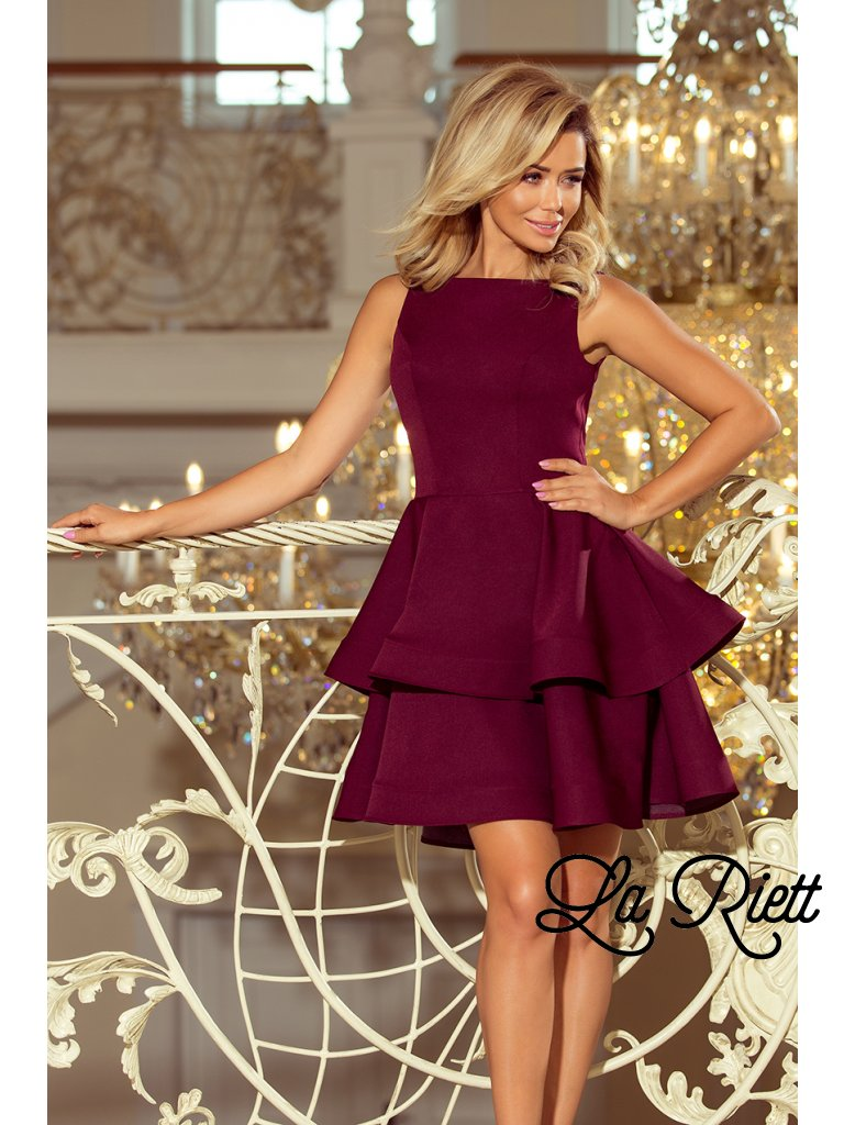 Elegantné šaty burgundy 169-7