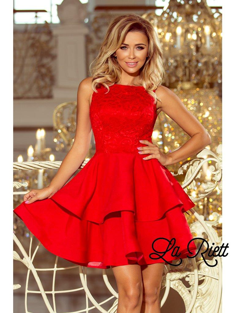 Koktejlové šaty s čipkou červené 205-1